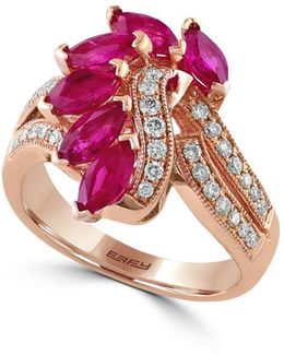 Amore 0.34 Tcw Diamonds, Ruby And 14k Rose Gold Ring