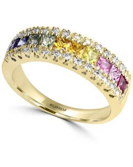 Watercolors Multi-colored Sapphire And Diamond 14k Yellow Gold Ring, 0.13 Tcw