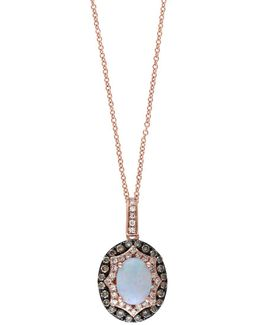 Aurora Opal, Brown Diamond And 14k Rose Gold Pendant Necklace