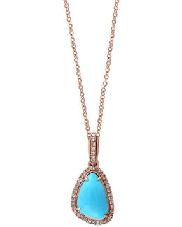 Turquesa Diamond, Turquoise And 14k Rose Gold Pendant Necklace