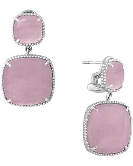 Sterling Silver And Rose Quartz Drop Earrings