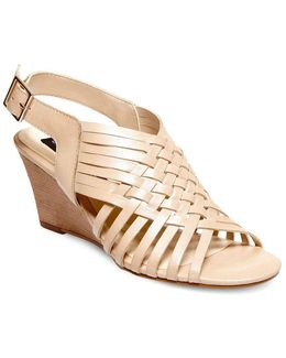 Livvey Leather Wedge Sandals