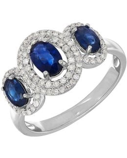 14k White Gold Sapphire And Diamond Ring, 0.264 Tcw