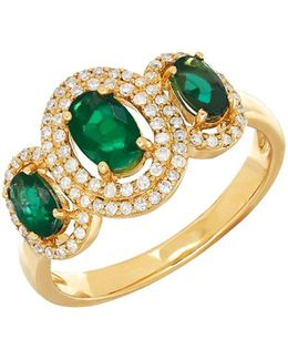 14k Yellow Gold Emerald And Diamond Ring, 0.264 Tcw
