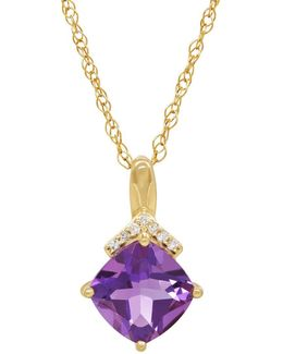 Amethyst, Diamond And 14k Yellow Gold Pendant Necklace