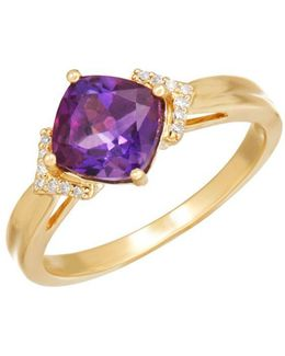 Amethyst, Diamond And 14k Yellow Gold Ring