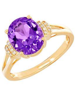 Amethyst, Diamond And 14k Yellow Gold Ring