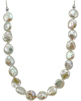 12mm White Round Coin Pearl Slider Necklace