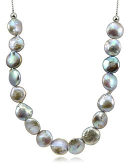 12mm Peacock Round Coin Pearl Slider Necklace