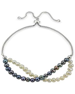 5mm White And Blue Freshwater Pearl Sterling Silver Bracelet