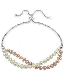 5mm Faux Pearl And Sterling Silver Bracelet