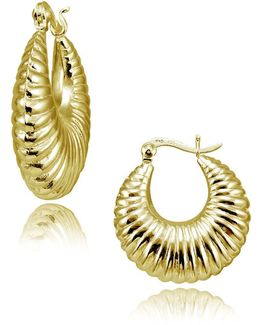 Goldtone Shrimp Hoop Earrings
