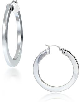 Sterling Silver Thick Hoop Earrings