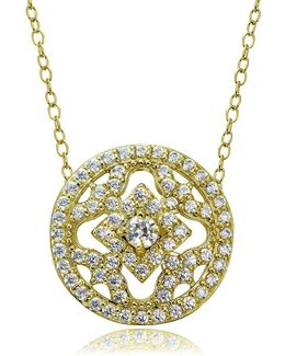 Cubic Zirconia And Sterling Silver Medallion Pendant Necklace
