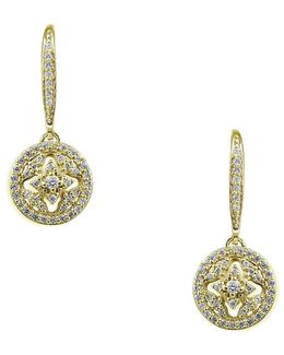 Cubic Zirconia And Goldtone Sterling Silver Drop Earrings