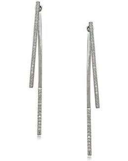 Cubic Zirconia And Sterling Silver Linear Drop Earrings