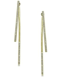 Cubic Zirconia And Goldtone Sterling Silver Linear Drop Earrings