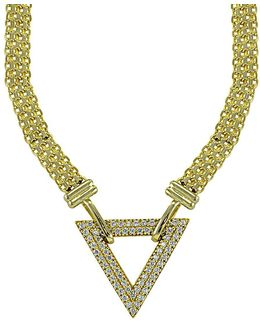 Cubic Zirconia And Goldtone Sterling Silver Triangle Necklace