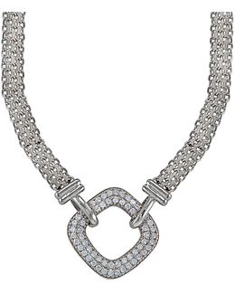 Cubic Zirconia And Sterling Silver Square Link Necklace