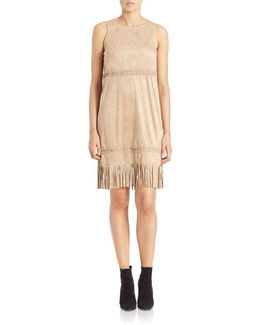 Fringed Faux Suede Dress