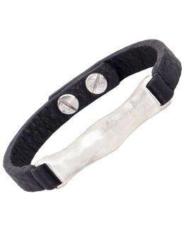 Silvertone And Leather Id Bracelet