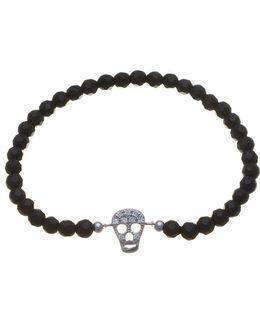 Black Bead Cz Skull Stretch Bracelet