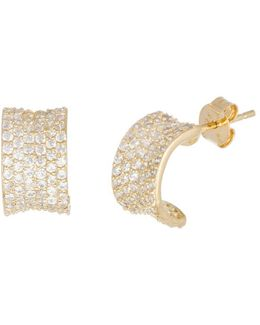 Cubic Zirconia And Goldtone Half Hoop Earrings