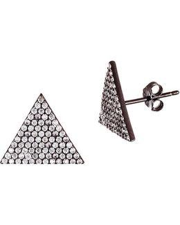 Cubic Zirconia And Sterling Silver Triangle Stud Earrings