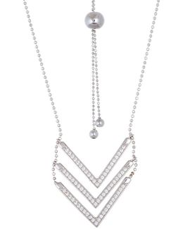 Cubic Zirconia Triple V Adjustable Necklace