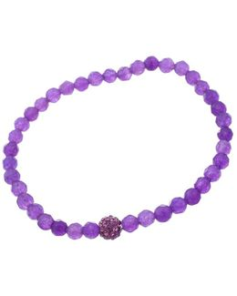 Purple Bead And Amethyst Stone Stretch Bracelet