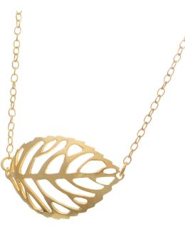 18k Gold And Sterling Silver Leaf Pendant Necklace