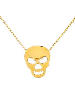 Sterling Silver And 18k Gold Skull Pendant Necklace