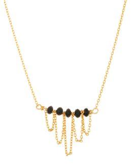 Goldtone Black Beads Bar Necklace
