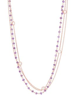 Triple-layered Cubic Zirconia And 18k Rose Gold Station Necklace