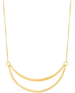 Gold Double-row Crescent Slider Necklace