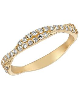 Diamond And 14k Yellow Gold Weave Ring, 0.3 Tcw