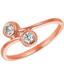 Double Diamond And 14k Rose Gold Ring, 0.25 Tcw