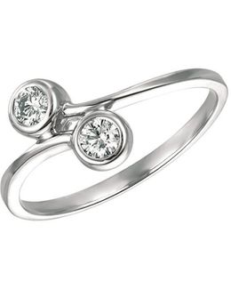 Double Diamond And 14k White Gold Ring, 0.25 Tcw