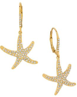 Diamonds And 14k Yellow Gold Star Earrings