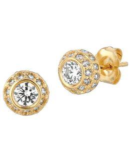 1 Tcw Diamond And 14k Yellow Gold Stud Earrings