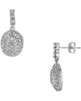 14k White Gold And Diamond Pave Circle Drop Earrings - 1.25 Tcw