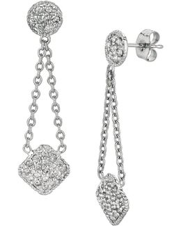 14k White Gold And Diamond Pave Drop Earrings, 0.75 Tcw