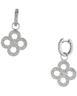 14k White Gold And Diamond Clover Drop Earrings 1 Tcw