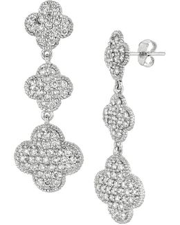 14k White Gold Diamond Pave Clover Drop Earrings, 2.75 Tcw