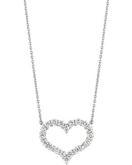 14k White Gold Diamond Heart Pendant - 2 Tcw