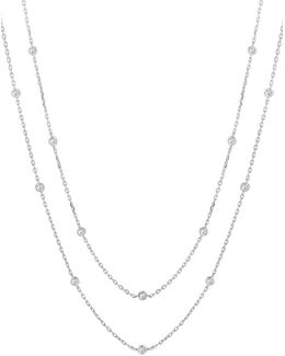 14k White Gold Diamond Station Necklace - 6 Tcw