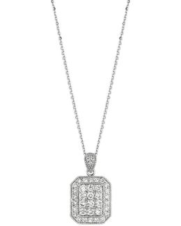 Diamond And 14k White Gold Pendant Necklace, 1.2 Tcw