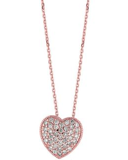 14kt White Gold And Diamond Heart Necklace