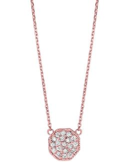 14k Rose Gold Diamond Octagon Pendant - 0.27 Tcw