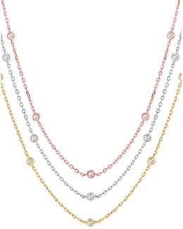 Layered 14k Tricolor Gold Diamond Station Necklace - 1.55 Tcw